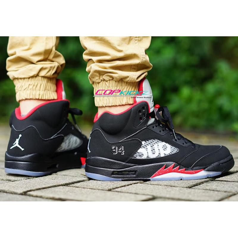 huge selection of c2d88 742c2 Best Supreme X Air Jordan 5 Black And Fire Red ...