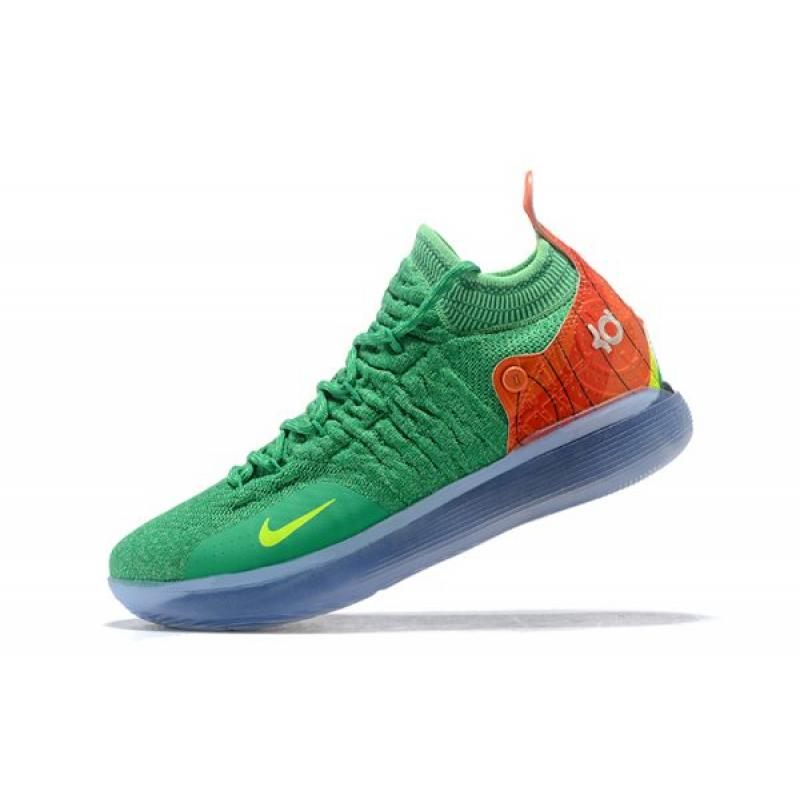 d0400e32f208 New Year Deals Nike KD 11 Green Orange-Yellow Men s Basketball Shoes ...