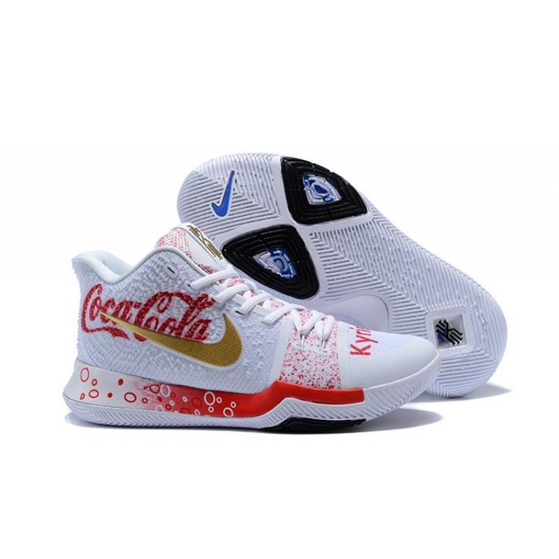 8f6149541423 Coca-Cola X Nike Kyrie 3 Custom White Blue Gold Discount ...