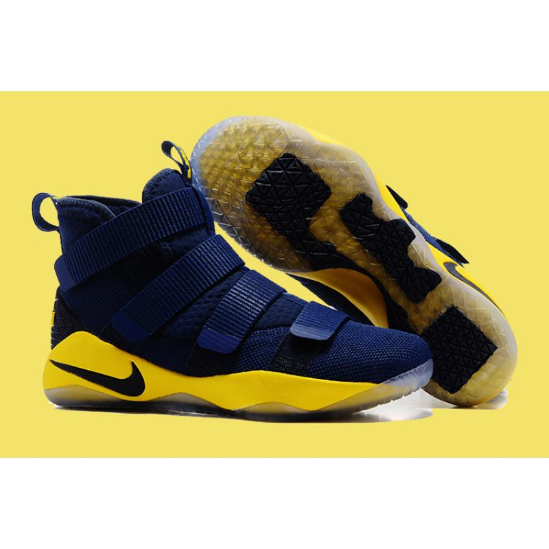 c722aeb0164e Nike LeBron Soldier 11 Deep Blue And Yellow Discount ...