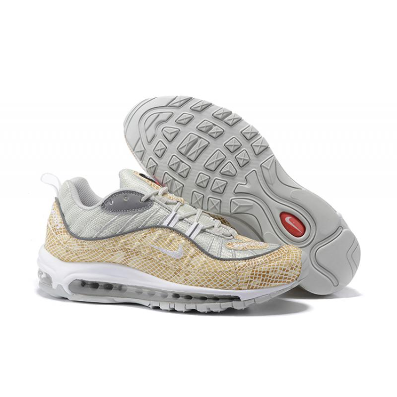 "6d977ca78bc Supreme X Nike Air Max 98 ""Snakeskin"" Sail And Metallic Silver-Varsity Red  ..."
