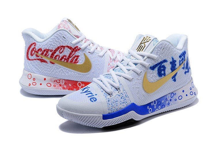 bb3e3384fed ... hot coca cola x nike kyrie 3 custom white blue gold discount 1e45e 0de8d