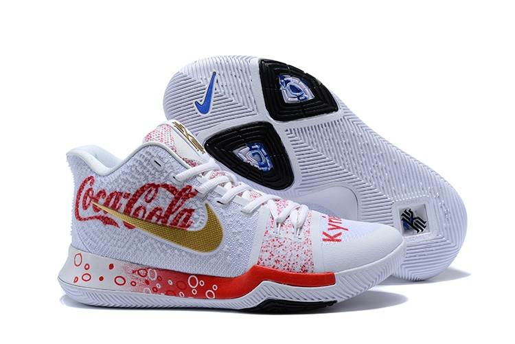 afe97053ed5 Coca-Cola X Nike Kyrie 3 Custom White Blue Gold Discount