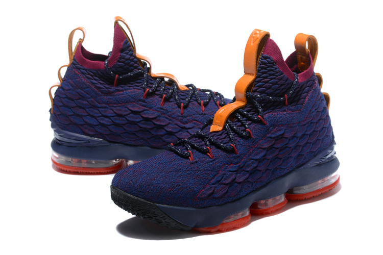 "d35b23f3f87f60 Nike LeBron 15 ""Cavs"" Navy Blue Wine Red-Orange For Sale"