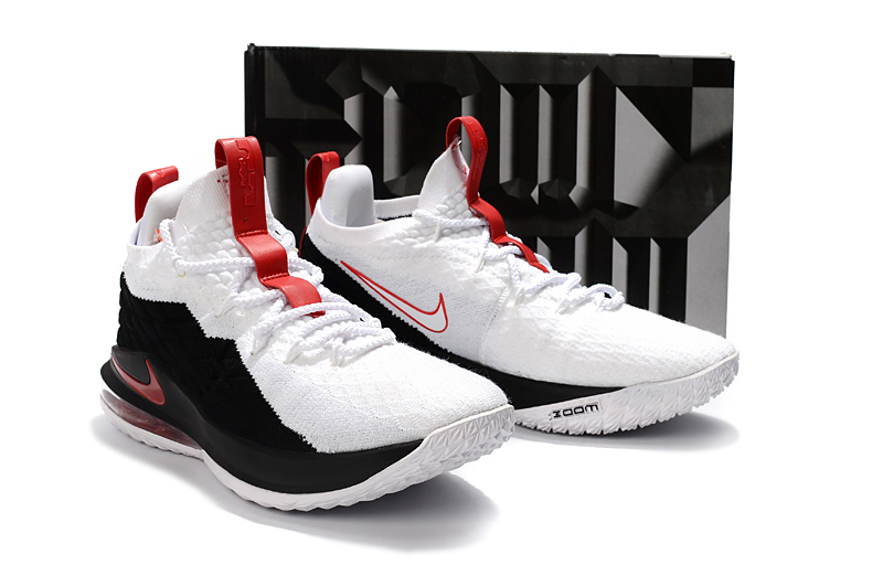 new style a4140 603c9 Free Shipping Nike LeBron 15 Low Black White Red