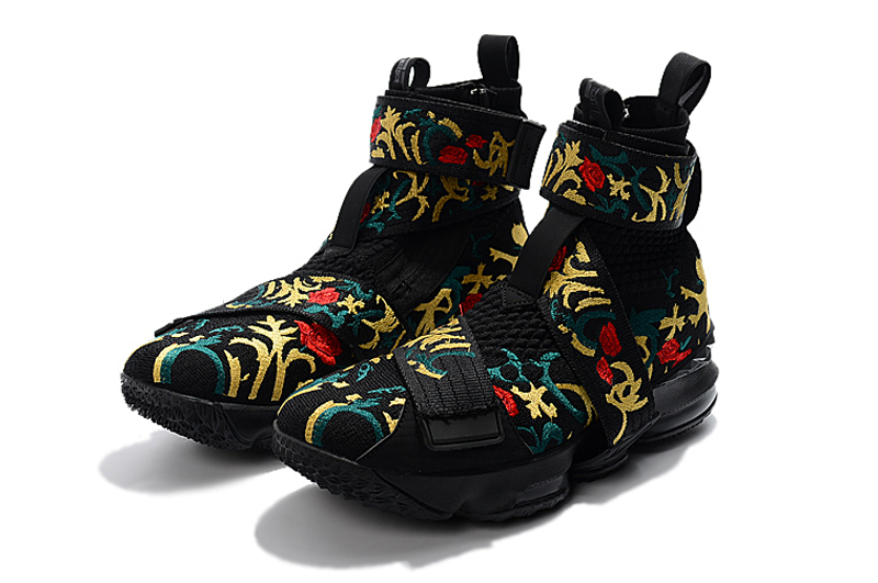 """info for 3d55b 73646 Discount KITH X Nike LeBron 15 Lifestyle """"King s Crown"""" Black Gold Floral"""