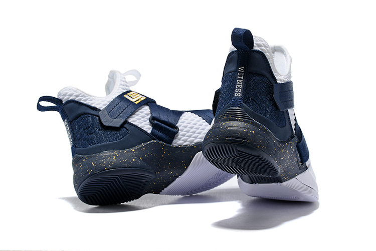 82529b19e177 Nike LeBron Soldier 12 White Midnight Navy-Mineral Yellow Super Deals