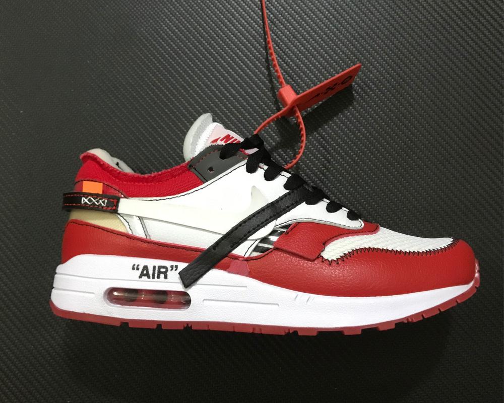 7feb0546d609 Virgil Abloh X BespokeIND X Off-White X Nike Air Max 1s Red For Sale ...