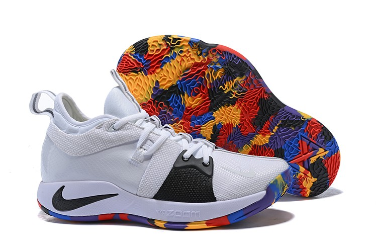"""new product aee9d 7f509 New Style Nike PG 2 """"NCAA"""" White And Black With Multi-Color"""